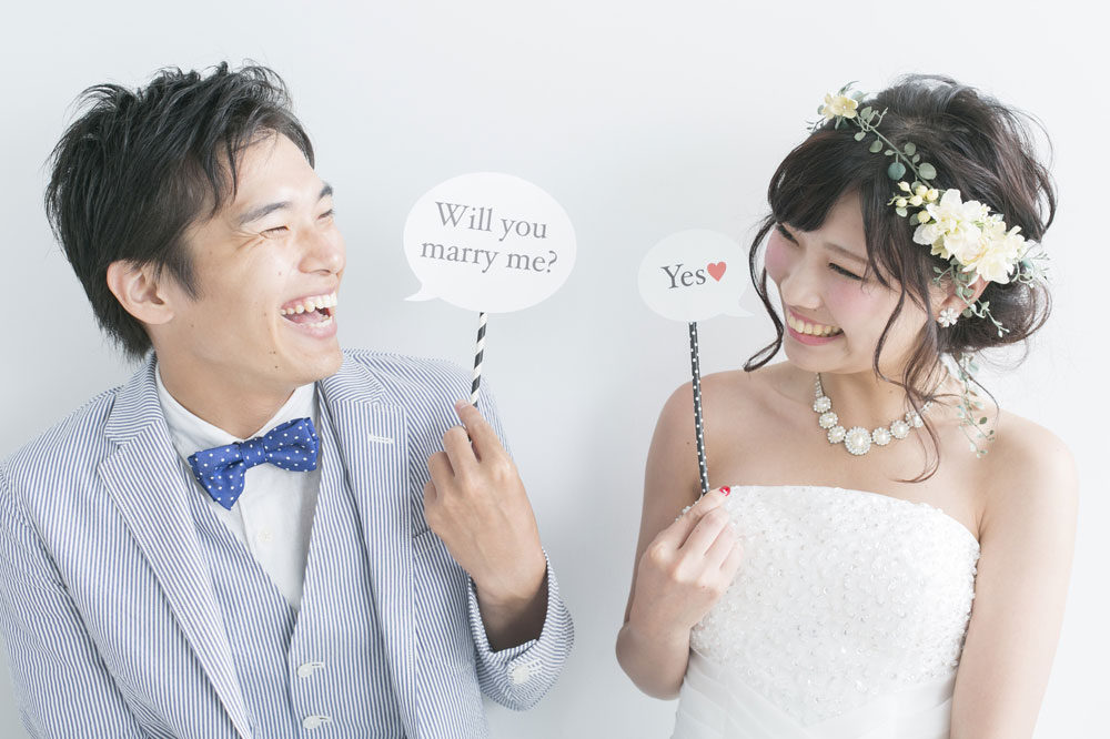 長期的な恋愛期間を経て、結婚した仲良しカップル